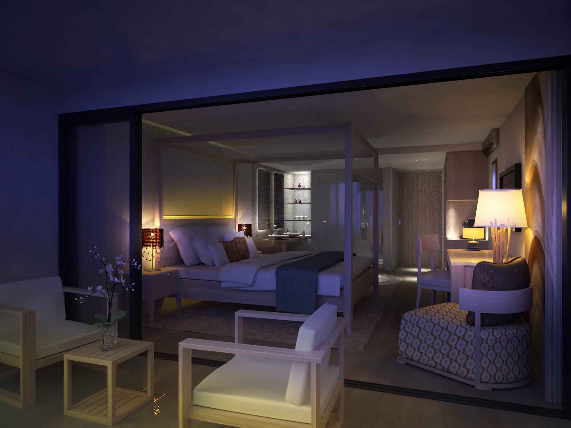 Hotel Design-H Barbados-Room Beach Night