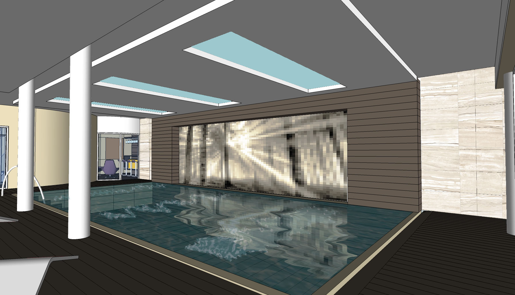 Residential Fitout_5star Villa Surrey-pool view feature wall FOREST