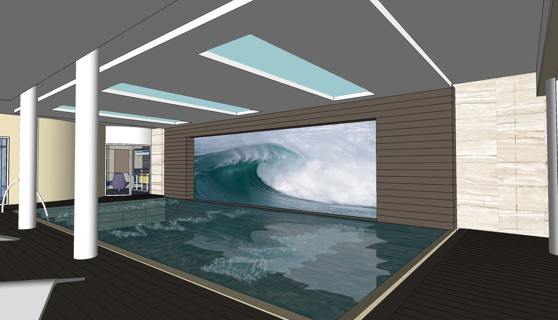 Residential Fitout_5star Villa Surrey-pool view feature wall WAVE